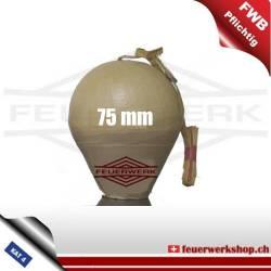 Kugelbombe 75mm - half red / half green peony
