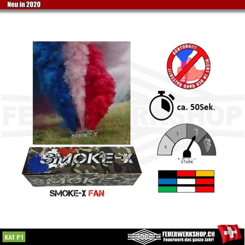 Dreifarbiger Fanrauch blau / weiss / rot (Frankreich) Smoke-X