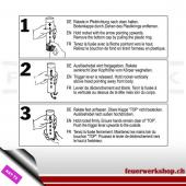 Fallschirm-Signalrakete mit rotem Signalstern